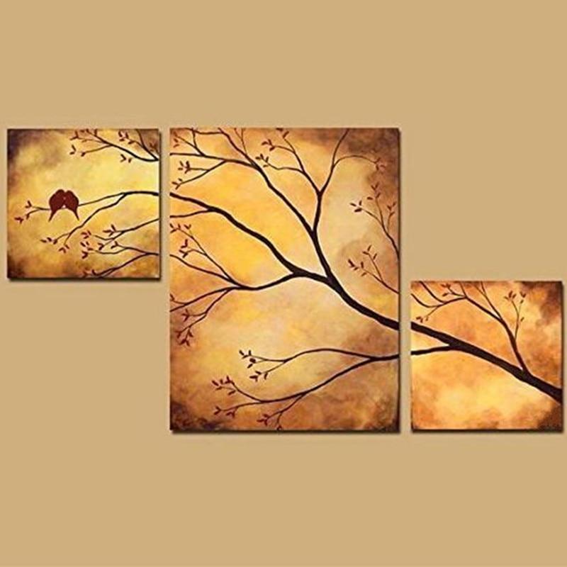 Online Shop Handpainted 3 Piece Canvas Acrylic Paintings Handmade ...