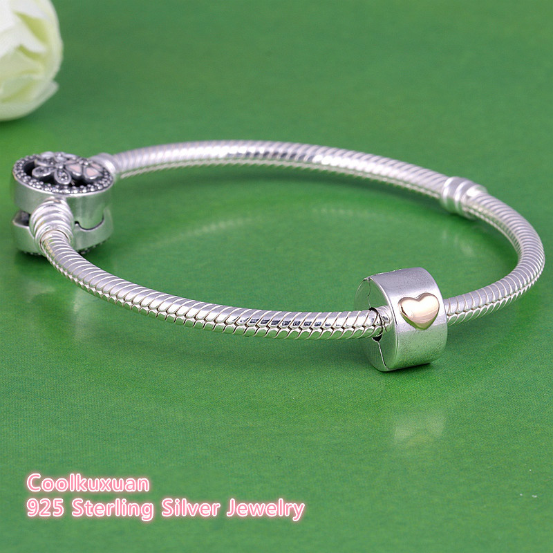 9648c9943f3 925 Sterling Silver Classic Heart Lock Clip Bead Fit Pandora Charm Bracelet  Two Tone Heart Clip Stopper Beads For Jewelry Making-in Beads from Jewelry  ...