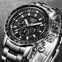 LIGE Tiehan style chronograph quartz Wristwatch Men Big dial white steel watches Mens Waterproof Sports Military Watch Relojes