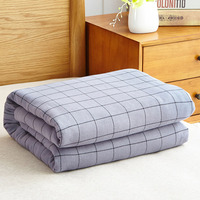 100% Cotton One sided Terry Towel Summer Blanket 150*200cm 200*230cm Modern Simple Plaid Design