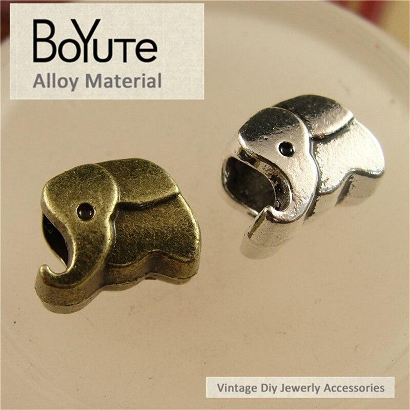 Boyute (100 шт./лот) 11*9*7 мм Античная бронзовая посеребренная металл слон Бусины DIY ювелирных изделий Интимные аксессуары