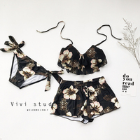 2018 Top Hot Sale Big Flower Bikini Small Chest Gather Steel Support Conservative Swimsuit Female Three Sets