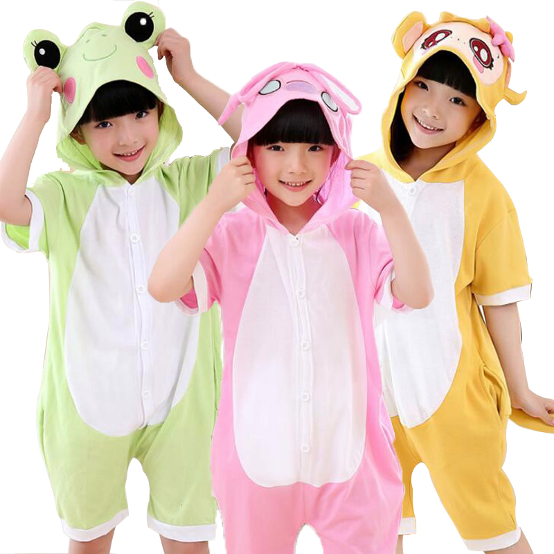Cotton Summer Girls Pajamas sets The Home Short Sleeve Hooded Soft Cute Fresh Cartoon Take Shower Clothes Children jumpsuits