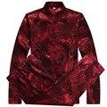 Seda china camisas trajes pantalón hombres Collar del mandarín dragón impresión juego de la espiga manga larga de gran tamaño Kung Fu ropa Casual Shirts