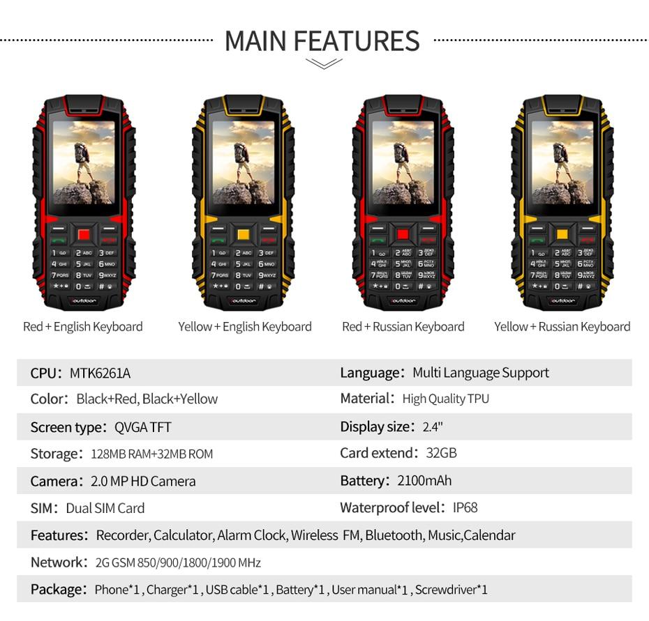 Waterproof Celular 2G 2MP 4