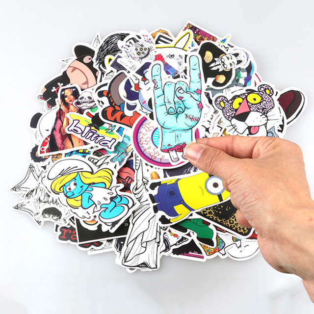 Waterproof 100 Pcs Not Repeating Fixed Gear Laptop Stickes Motorcycle Graffiti Anime Movie Decoration Toy Stickers Collection