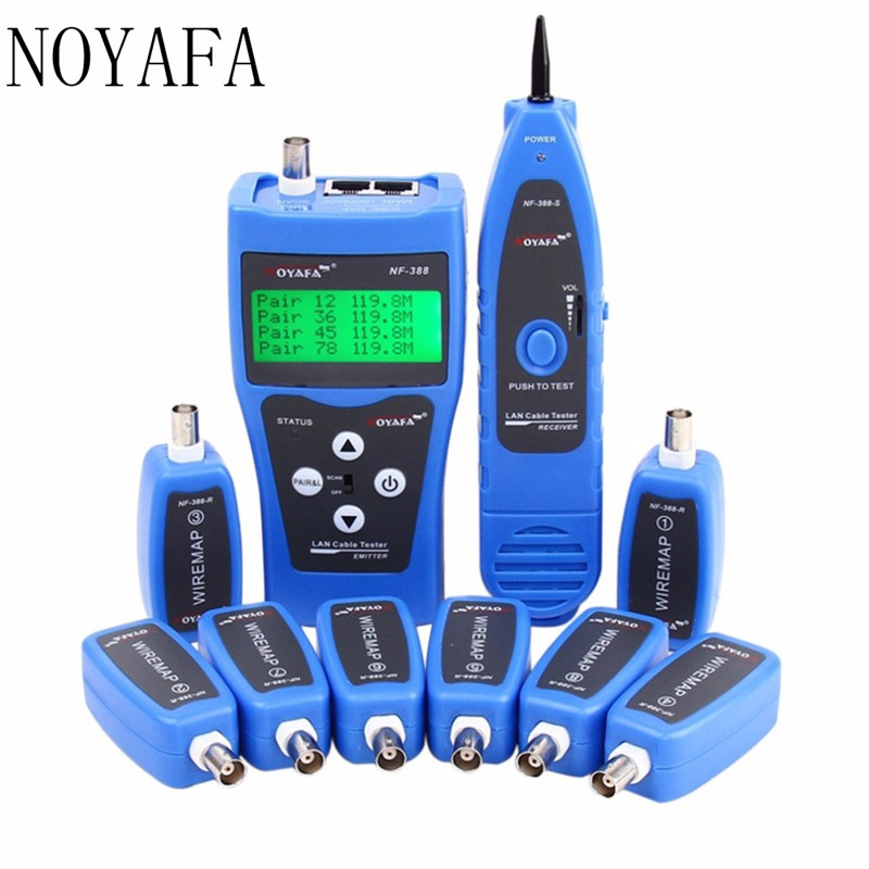 Noyafa NF-388 English Version Multi-functional Network Cable Tester Remote Cable Tracker RJ45 RJ11 LAN Tester LCD Display Bule