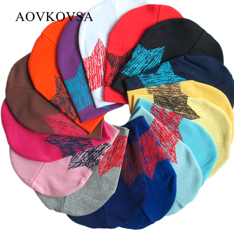 AOVKOVSA 2017 New Children Knitted hat five star printing cotton baby hats girl Beanies cap 2017 new children