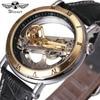 Luxury Men Golden Bridge Watch 2018 WINNER Auto Mechanical Watch Genuine Leather Strap Transparent Luminous Hand