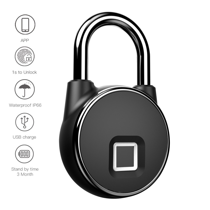 Fingerprint lock household locker warehouse door anti theft waterproof electronic padlock