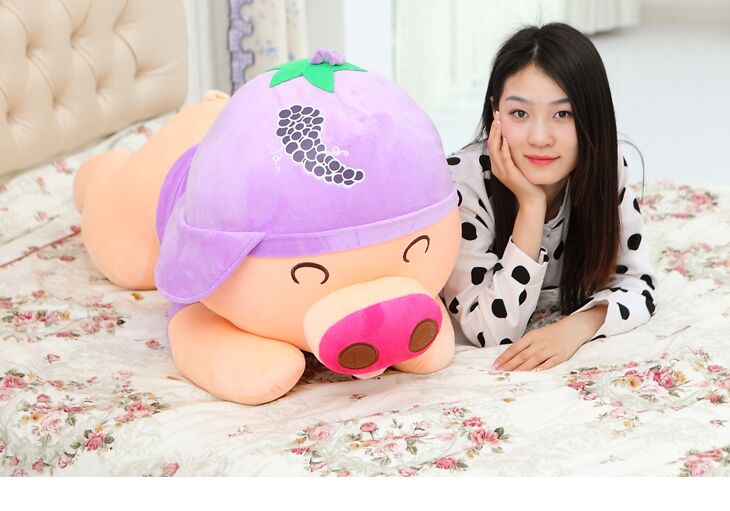 huge plush grapes pig toy stuffed purple lying pig doll gift about 100cm 0004 the huge lovely hippo toy plush doll cartoon hippo doll gift toy about 160cm pink