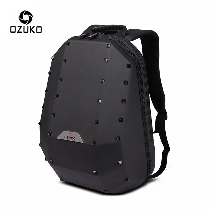 OZUKO 15 6 Laptop Backpack for Men Fashion Rivet Backpacks School Bag for Teenager Travel Bag