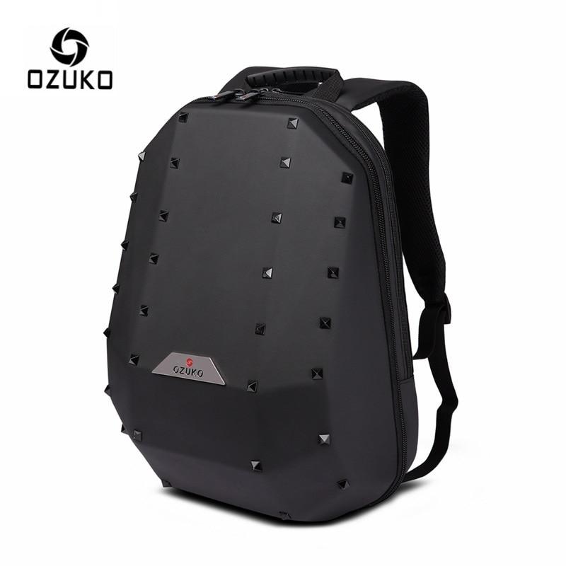 OZUKO 15 6 Laptop Backpack for Men Fashion Rivet Backpacks School Bag for Teenager Travel Bag