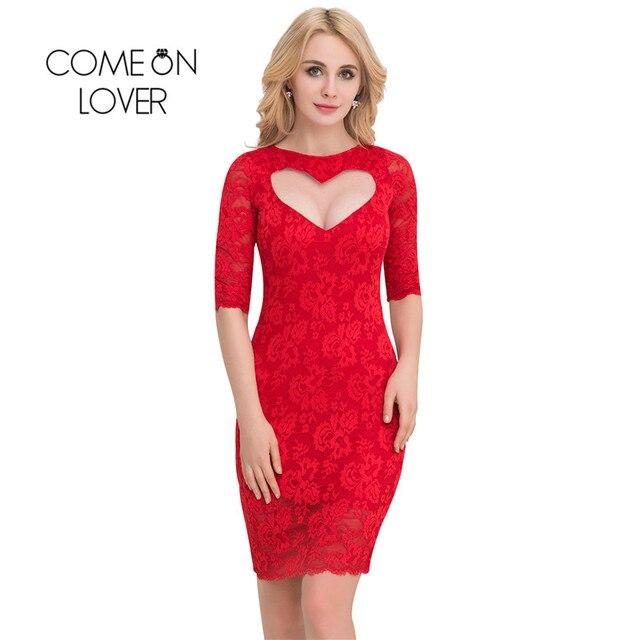 b78edbf43f VI1049 Comeonlover Valentine Day Sex Dresses Half Sleeve Party Plus Size  Lace Dresses Elegant Sweater Bodycon Vestidos De Verano