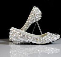 Plus Sizes 40 41 42 Silver Wedding Shoes For Woman Luxury Handmade TG378 Big Rhinestones Bridal