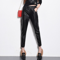 European Autumn Spring Autumn Fashion Women Black PU Leather Elastic Waist Harem Pants Capris Pocket Loose