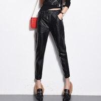 European Autumn Spring Autumn Fashion Women Black PU Leather Elastic Waist Harem Pants Capris Pocket Loose