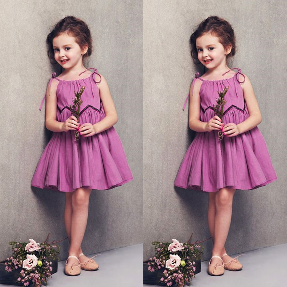 Children Girls Dress Elegant Sleeveless Purple Dress Comfortalbe Soft Flax Halter Princess Dress Girls Fashion Teenager Clothes black button keyhole design grid halter sleeveless mini dress