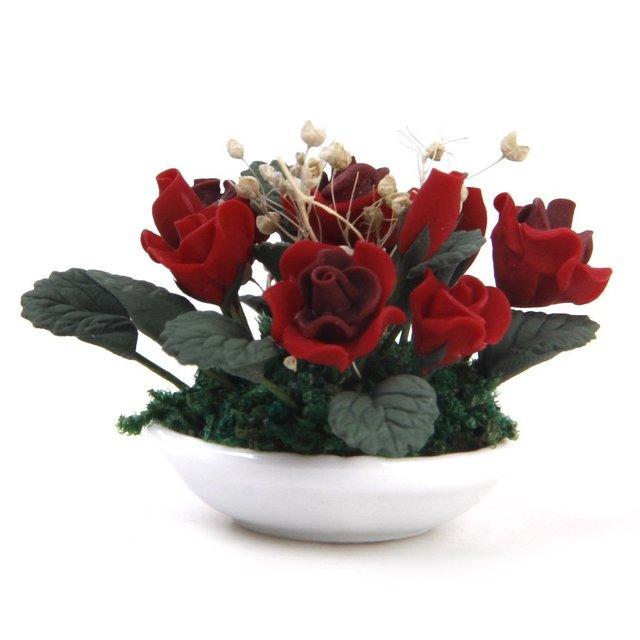 ABWE Best Sale 1/12 Miniature dollhouse clay plants Pink gypsophila flower ceramic pot
