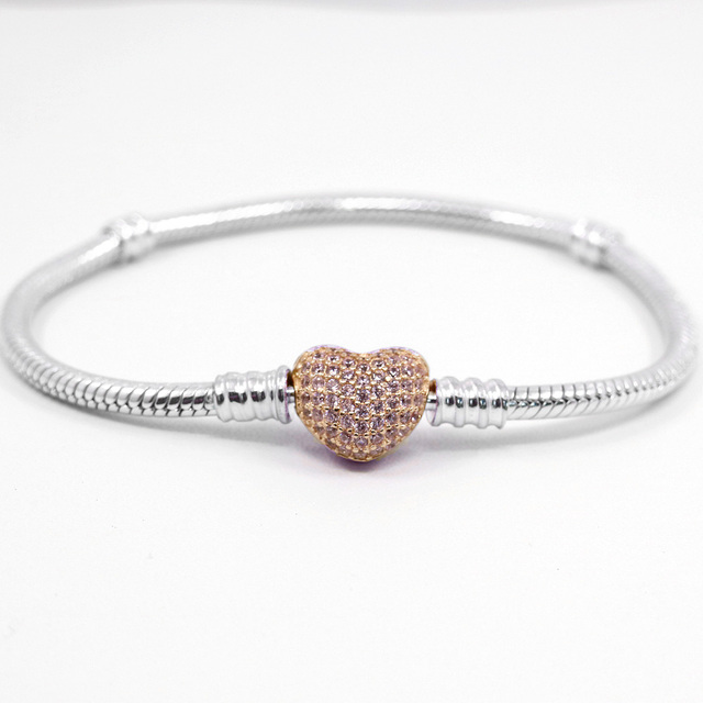 a7567945daf 925 Sterling Silver Bracelet Rose Gold Moments Pave Heart Clasp With  Crystal Bracelet Bangle Fit Bead Charm DIY Pandora Jewelry