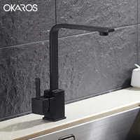 OKAROS новый дизайн кухонный кран кварцевый камень латунь корпус 360 градусов вращение резервуар для раковины кран смеситель для горячей и холо...