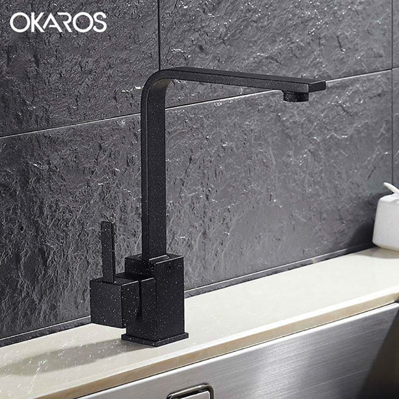 OKAROS New Design Kitchen Faucet Quartz Stone Brass Body 360 Degree Rotation Vessel Sink Basin Faucet Hot Cold Water Mixer Tap
