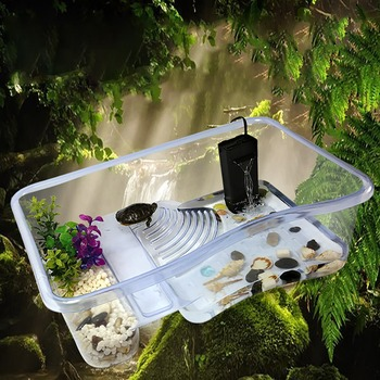 Aquatic Turtle Tub with Lid Tank Basking Platform Reptile insect spider hibernation Transport Breeder Box Compartment kit Sturdy