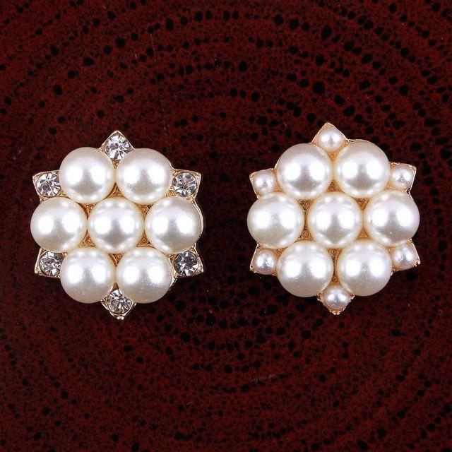 200pcs lot 23MM 2Styles Sparkle Handmade Metal Bulk Buttons Decorative Full Pearl  Rhinestone Buttons For Wedding Embellishment 452008d82e2d