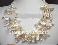 FREE SHIPPING>>>@@ > N809 wonderful multi strand luster BiWa pearl necklace cameo flower clasp