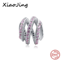 Fit Authentic  Pandora Bracelet Silver 925 Original Clear Pink CZ Spiral Hoop Pendant Pandora Charms Antique Beads Jewelry Gift цена