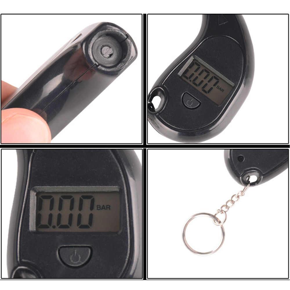 Móc Khóa Mini Di Động Màn Hình LCD Kỹ Thuật Số 2-150 PSI Lốp Xe Lốp Bánh Xe Đồng Hồ Đo Áp Lực Khí Bút Thử Rước Công Cụ Áp Suất Lốp Xe