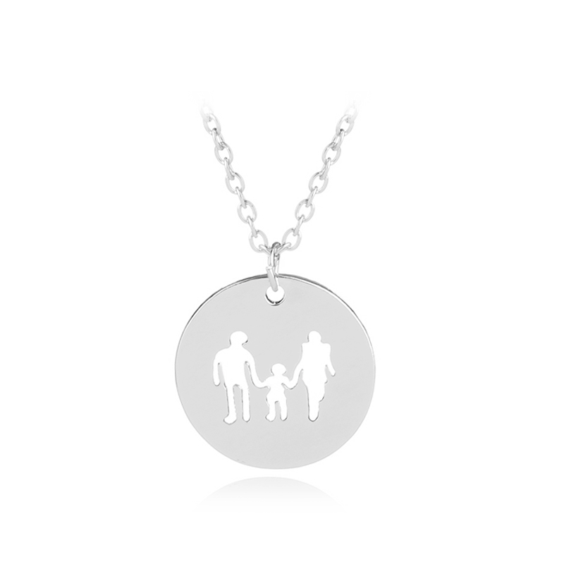 Family of three Necklace Mothers Day Gift necklaces Mom dad And Baby round Pendant Necklace For fathe Statement Jewelry