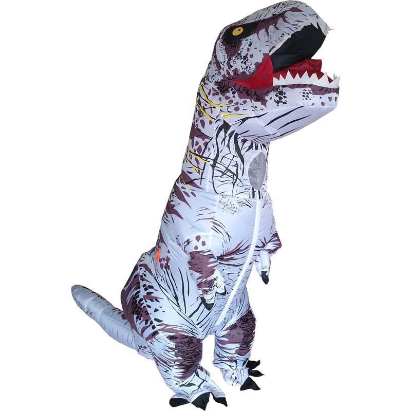 White Color Inflatable Dinosaur T REX Costumes Blowup T-Rex Dinosaur Halloween Costume Mascot Party Costume for Adult XL Size