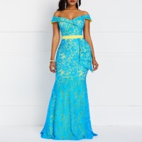 Women Maxi Party Dresses Elegant Blue Plus Size Mermaid High Waist Off Shoulder Lace Female Fashion Retro Evening Long Dress