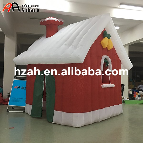 Red Inflatable Xmas House for Christmas Decorations 8m inflatable christmas santa claus cartoon for adversting inflatable trees and house and box customized festival toy
