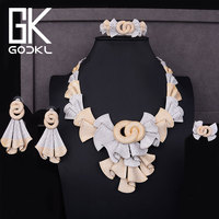 GODKI Luxury Nigerian Jewelry sets For Women Cubic Zirconia African Beads Jewelry Sets Indian bridal jewelry sets