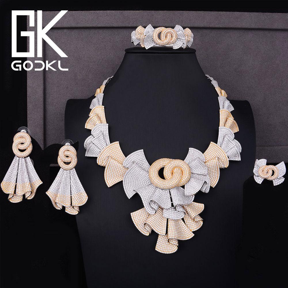 GODKI Luxe Nigérian Bijoux ensembles Pour Les Femmes Cubique Zircone Perles Africaines Parures bijoux de mariée Indienne définit