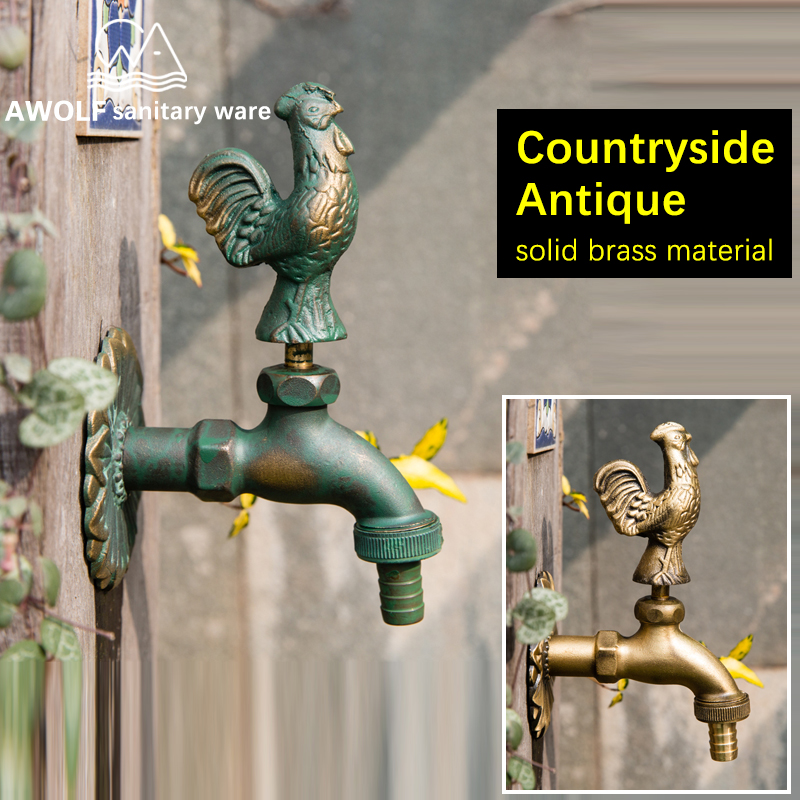 Garden Faucet Art Animal Shape Antique Countryside outdoor Wall Mounted Faucet Brass Washing Machine Cold Water Tap AF6136-in Bibcocks from Home Improvement    1