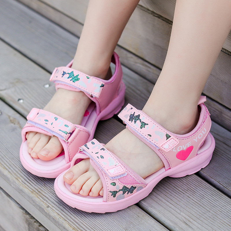 ULKNN  Sandals For Girls 2020 Summer New Kids Fashion Big Children Beach Shoes Pink Rose Sandalies For Baby Size  25-38