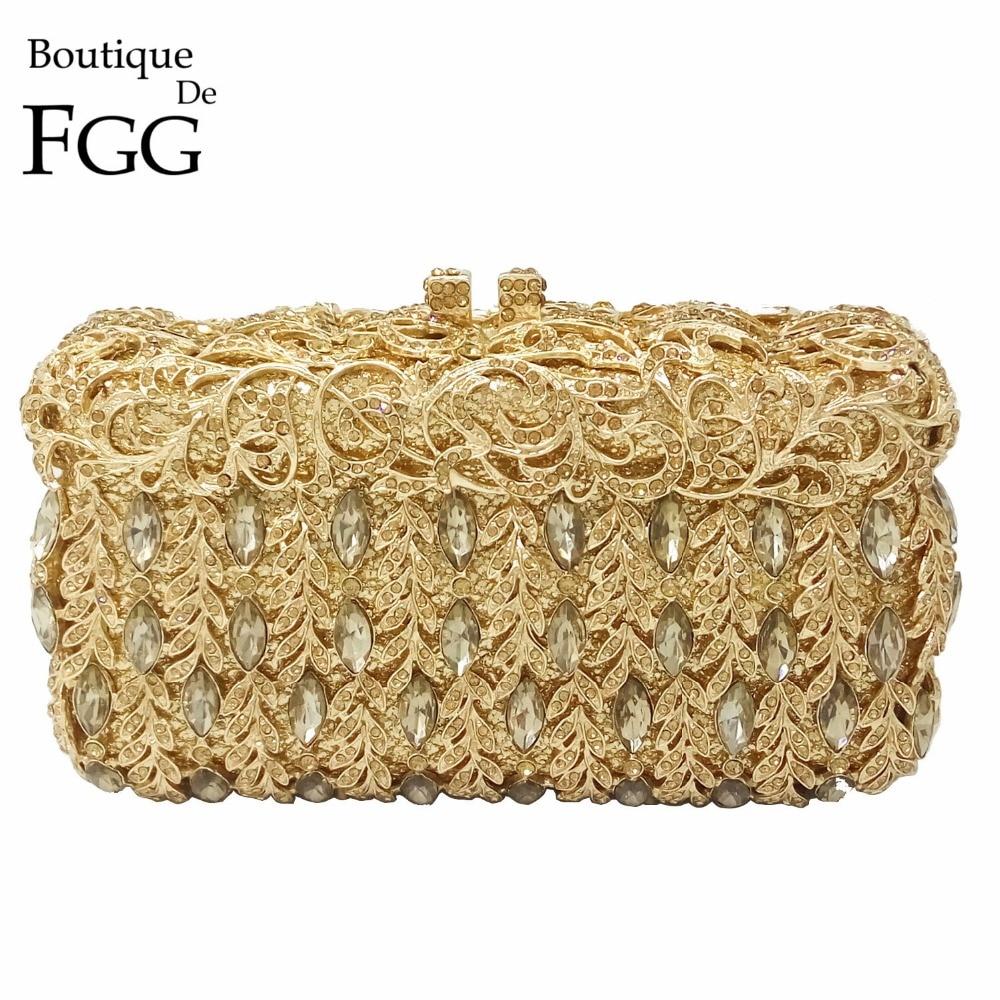 ФОТО Socialite Hollow Out Golden Crystal Women Evening Clutch Wedding Party Handbags Purses Metal Clutches Hard Case Shoulder Bag