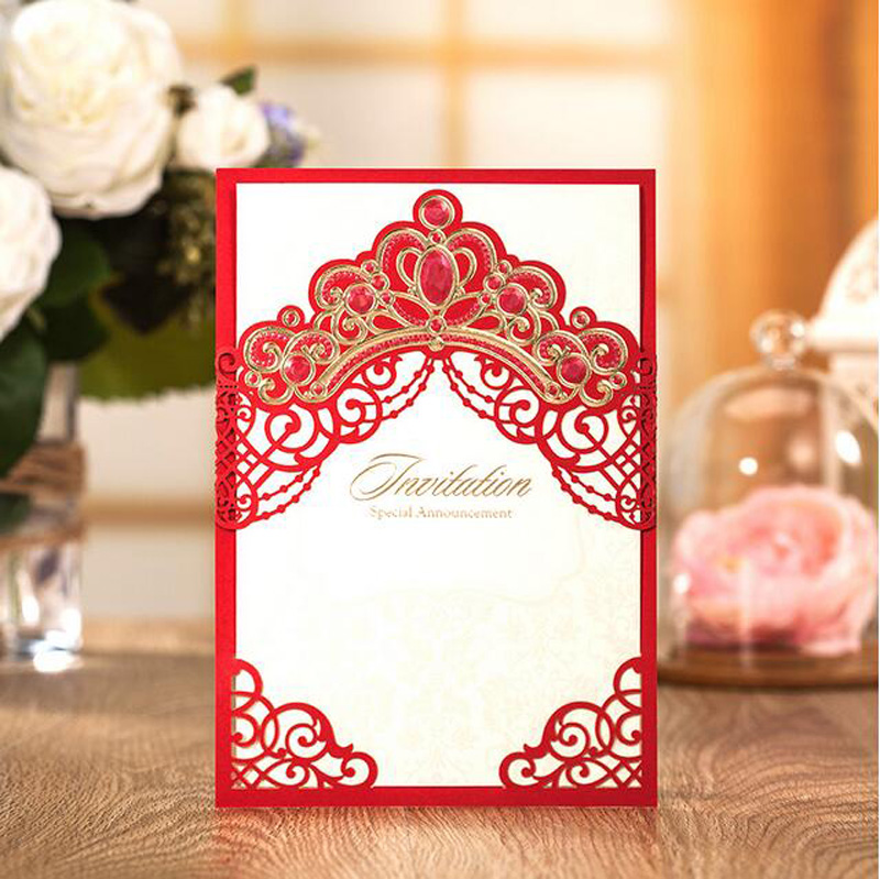 Royal Gold Pink Red Navy Blue Laser Cut Wedding Invitation Cards With Embossed Hollow Flora Crown For Bridal Shower In Invitations From