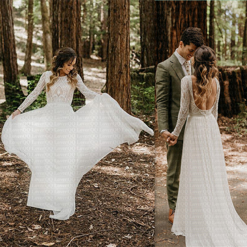 Cheap Beach Vestido De Noiva Unique Lace Long Sleeves Open Back Hippie Style Wedding Dress Boho Bohemian Summer Cou Bridal Gowns Wedding Dresses Aliexpress