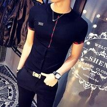 Новая мода,, бренд, летняя мужская повседневная Высококачественная хлопковая верхняя одежда, мужская Тонкая Корейская стильная короткая прочная футболка