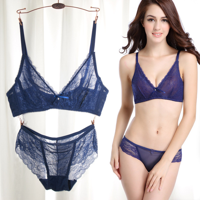 2abd5e8bb6 Sexy Women Bra Sets Ultra thin Lace Wire 5 8 Cup Push Up Bra Plunge ...