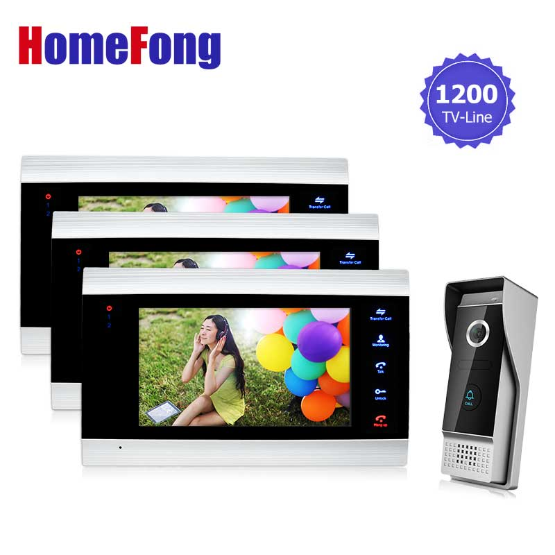 Homefong Video Door Phone Intercom Entry System Wire 7 inch Color Indoor Monitor 1V3 Recording Unlock Touch Button 1200TVL homefong 4 inch monitor lcd color video record door phone doorbell intercom system night vision 1200tvl high resolution