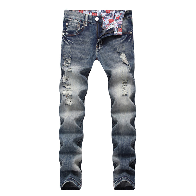MORUANCLE Mens Fashion Ripped Jeans Joggers With Holes Washed Distressed Destroyed Straight Denim Trousers Pants Plus Size 28-42