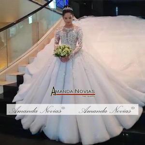 Image 3 - Gelinlik vestido de noche volledige kralen luxe sparkling bling bling trouwjurk amanda novias echte werk