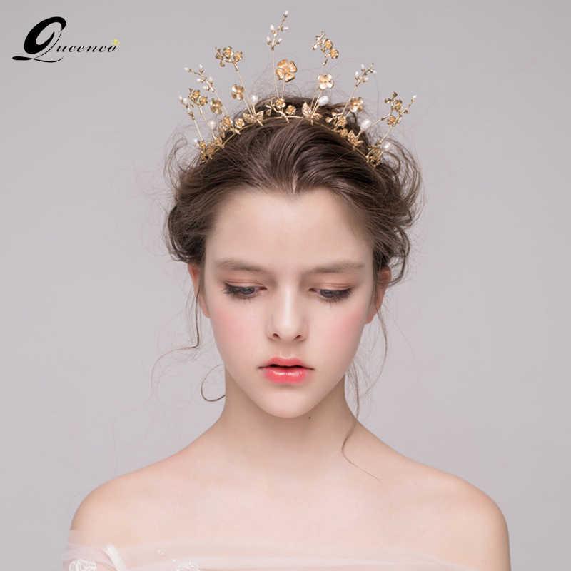 Detail Feedback Questions about Baroque Gold Bridal Crown Wedding Tiara  Bridal Hair Accessories golden flower pearl Bridal Hair Vine Headband Women  ... 7a7779b0ad9e