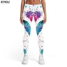 KYKU Brand Feather Leggings Women Graffiti 3d Print Colorful Ladies Art Sport Ink Printed pants Womens Pants Fitness