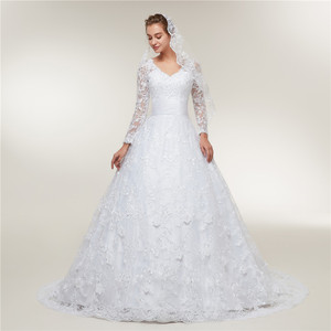 Image 2 - Fansmile Long Sleeves Lace Vestido De Noiva Wedding Dresses 2020 Train Custom made Plus Size Wedding Gowns FSM 403T